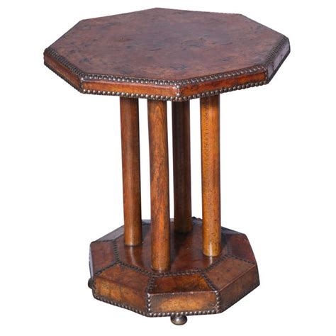 leather accent table antique octagonal leather covered accent table at 1stdibs