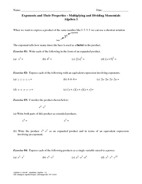 Powers Of Monomials Worksheet Answers by Multiplying Monomials Worksheet Lesupercoin Printables