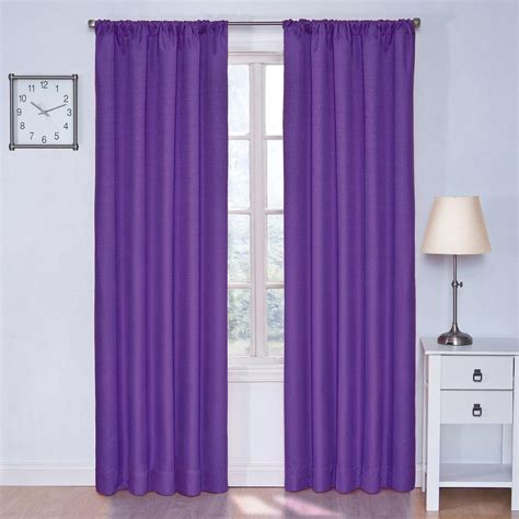 Purple Eclipse Curtains Eclipse Kendall Blackout Purple Curtain Panel 84 In Length 10707042x084pur The Home Depot