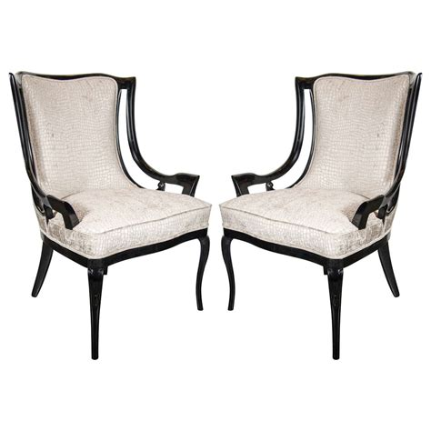 sophisticated pair of 1940s sleigh arm occasional chairs