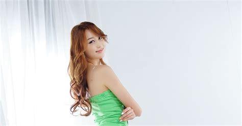 H Dress Dress Cewek foto cewek asia eun bin yang green dress