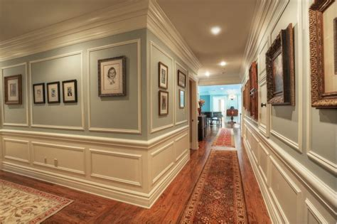 Traditional hallway with crown molding amp chair rail in bernardsville
