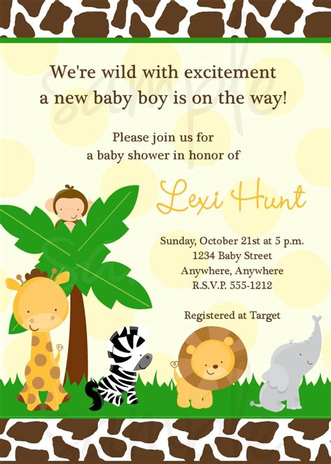 Jungle Themed Baby Shower Invitations by Safari Jungle Baby Shower Invitation