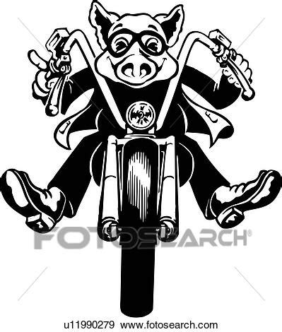 illustration lineart motorcycle hog pig rider