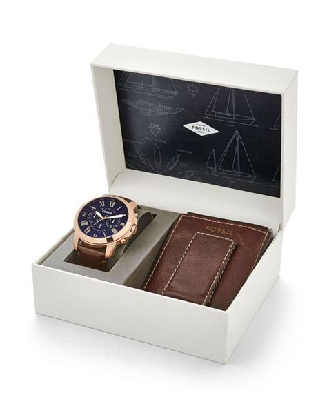 Grant Sport Chronograph Stainless Steel And Wallet Box Set fossil grant chronograph and wallet gift set in gold