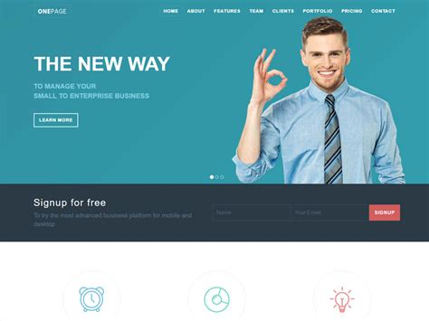 start responsive one page template one page responsive bootstrap template for small