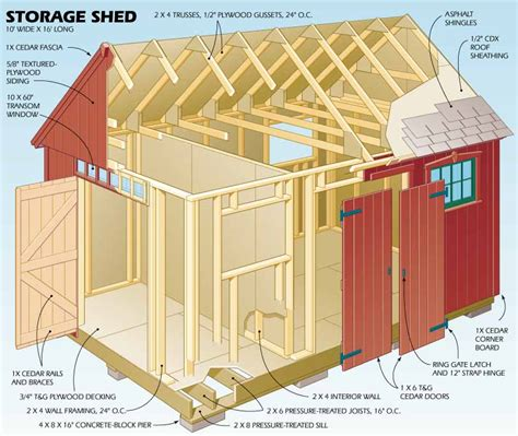 Easy To Build Storage Shed by 8 X 16 Gable Shed Plans Plans For Shed Building Wooden