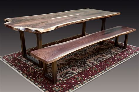 boltzero dining table with 2 benches 91 dining table bench walnut black walnut live edge