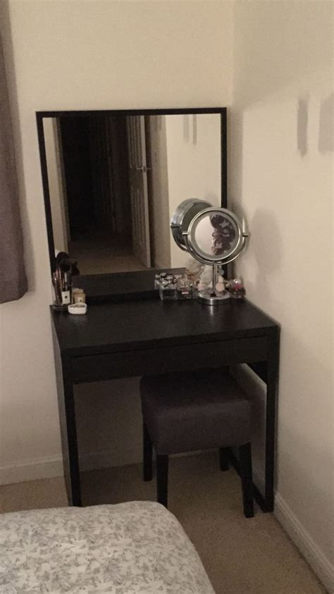 the finished product ikea micke desk with stave mirror