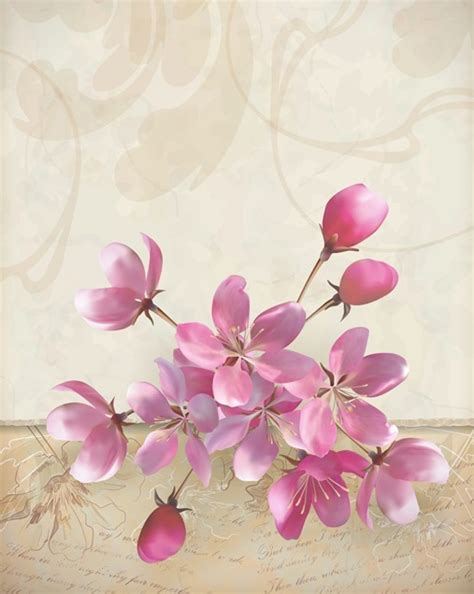 free vector elegant pink flowers with parchment background 02   titanui