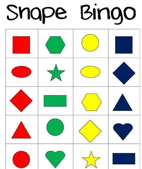 printable shapes colors little piles everywhere shape bingo