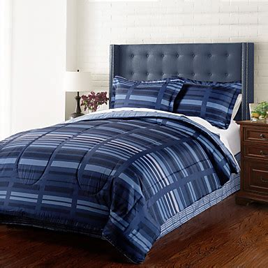 4 piece modern navy blue stripe comforter set 1634632