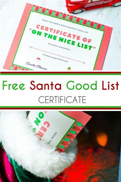 elf on the shelf nice list certificate printable free santa good list certificate elf on the shelf
