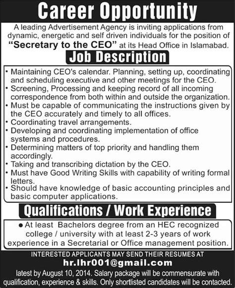 Job Description Of Secretary For Resume by Personal Secretary Jobs In Islamabad 2014 August At