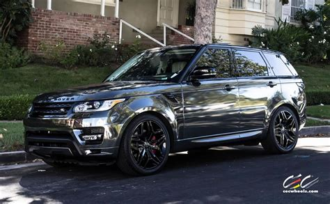 black chrome range rover range rover sport with custom wheels cec los angeles