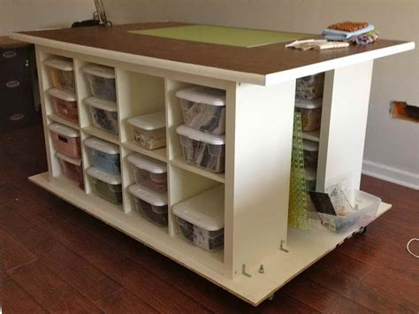 furniture craft table with storage with wooden cabinet