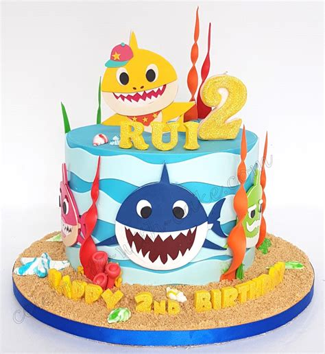 celebrate  cake baby shark single tier beauty salons   shark cake baby shark