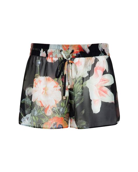 Ted Baker Opulent ted baker opulent bloom print shorts in black lyst