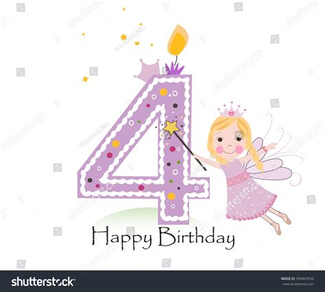 Happy 4th Birthday Wishes Happy Fourth Birthday Candle Baby Girl Greeting Card With