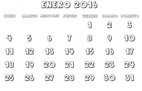 Calendario Enero 2016 Para Imprimir Calendarios Enero 2016