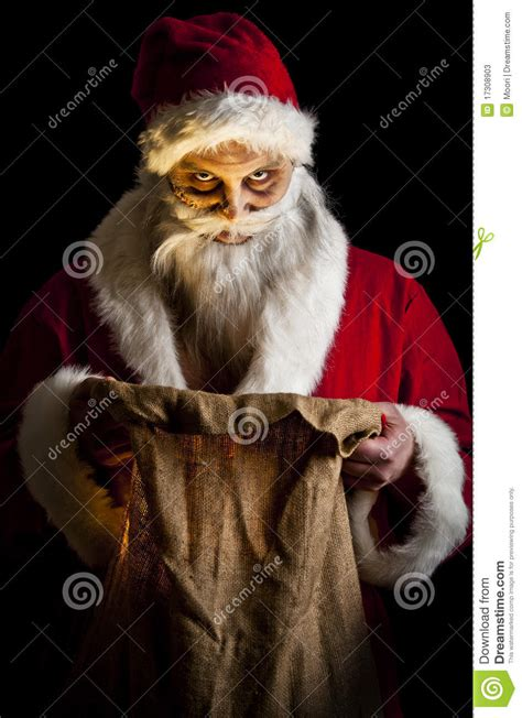 scary santa stock image image  fear evil merry stare