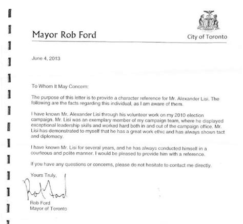 Recommendation Letter For From Mayor it really is about the company rob ford keeps dimanno