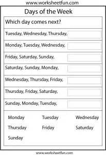 days of the week 1 worksheet free printable worksheets