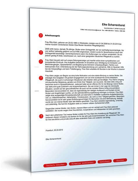 referenzschreiben pflegekraft muster arbeitszeugnis pflegehelfer note eins vorlage zum