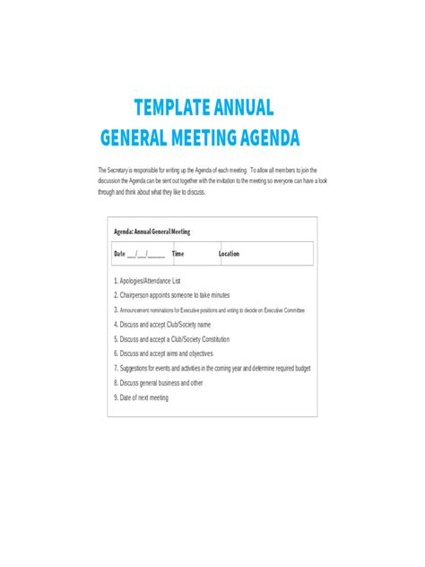 Annual General Meeting Minutes Template annual general meeting agenda template 8 free templates