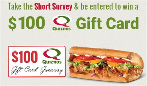 Quiznos Gift Cards - 100 quizno s gift card us