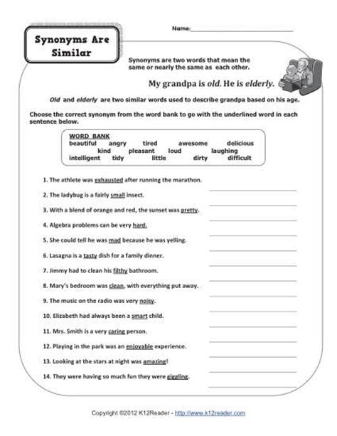 speech pattern synonym synonyms are similar 4th grade synonym worksheets