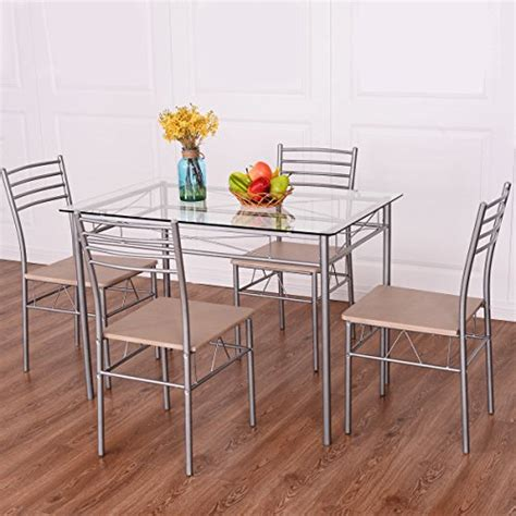 glass top kitchen table and chairs giantex 5 dining set table and 4 chairs glass top