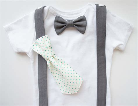 changeable baby boy tie and bow tie onesie with suspenders