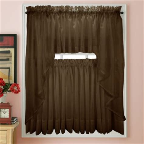 chocolate brown sheer curtains elegance voile chocolate brown sheer curtain bedbathhome com