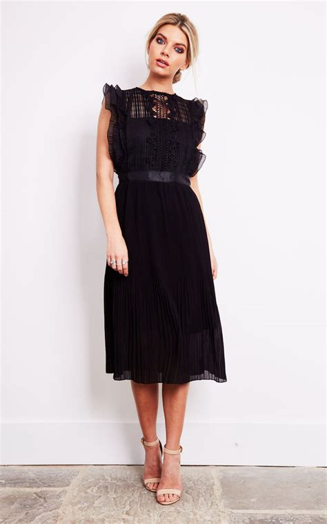 black lace pleated a line midi dress silkfred