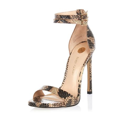 barely there sandals lyst river island brown snake print barely there heeled