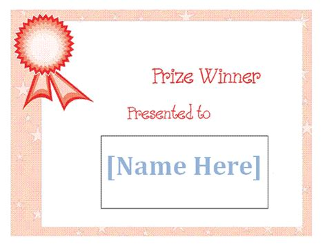 winner certificate template free free prize winner certificate template sle for
