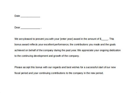 performance bonus template performance bonus letter template