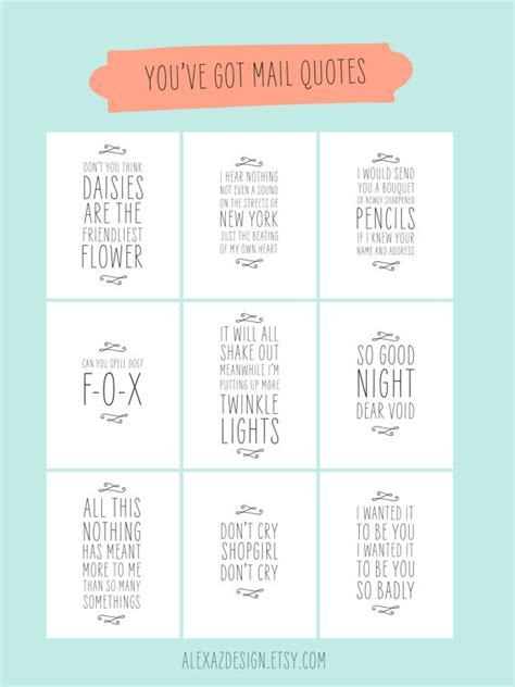 movie quotes you ve got mail you ve got mail quotes printable pacakge meg by alexazdesign