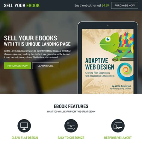 who sells epub format books responsive e book landing page design templates to boost