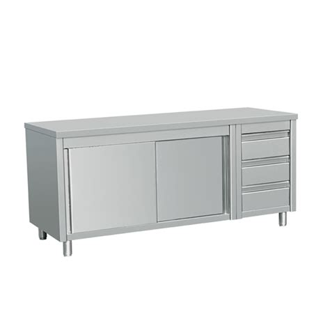 stainless steel table with drawers eq commercial stainless steel work prep table w cabinet 3