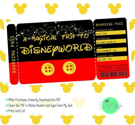 Printable Ticket To Disney Disneyworld Disneyland Boarding Pass Customizable Template Customizable Pass Template
