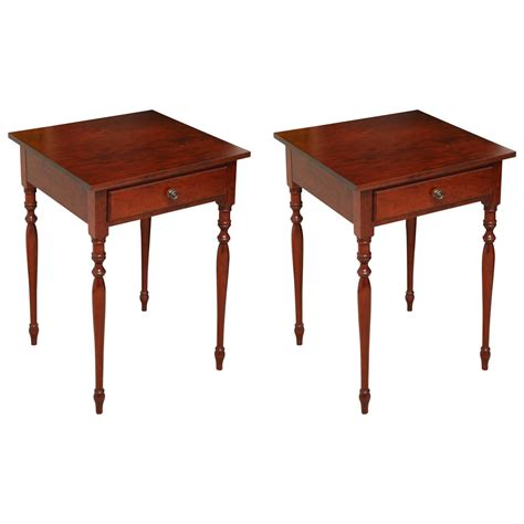 Cherry End Tables Sheraton Style Cherry Side Tables At 1stdibs