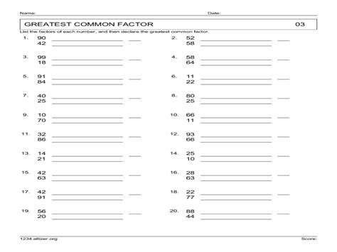 Common Worksheets For Grade by Greatest Common Factor Worksheets 7th Grade Factor Trees