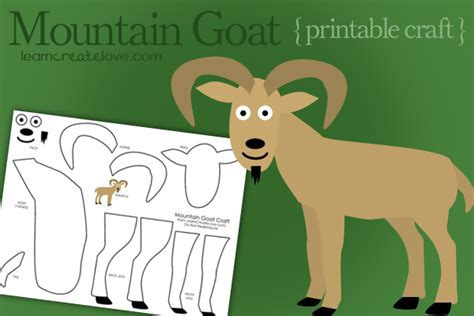 goat crafts for printable mountain goat