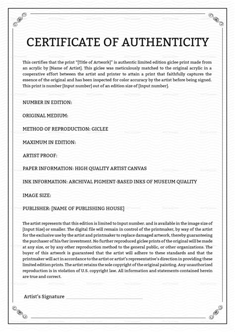 certificate of authenticity photography template certificate of authenticity template uk gallery