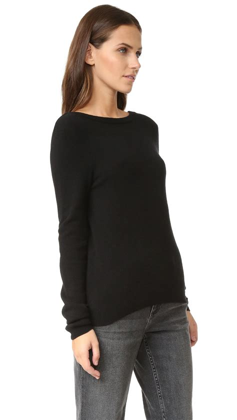 Black V Back Sweater S741 equipment calais v back sweater in black lyst