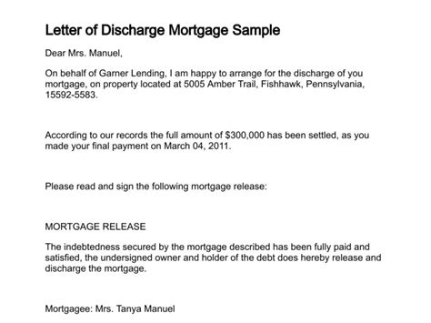 Mortgage Discharge Letter Letter Of Discharge