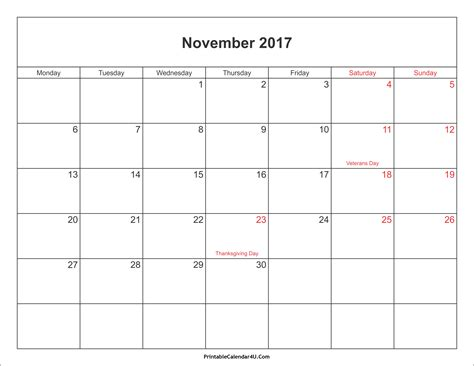 november 2017 calendar printable with holidays weekly