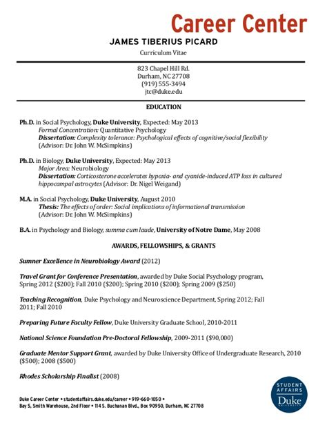 resume sles for faculty exle cv